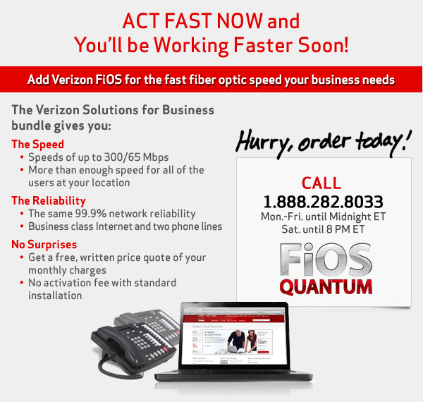 * For new business customers signing up for a new Fios Internet and Phone bundle with a two year agreement will receive a $ Visa Prepaid Card. May only be combined with select offers. Verizon Visa Prepaid Card issued by MetaBank®, Member FDIC, pursuant to a license from Visa U.S.A. Inc. Use everywhere Visa debit cards are accepted.